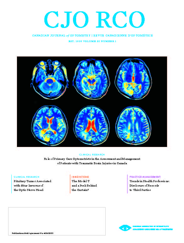Cover of CJO Volume 80 Number 1, showing MRI scan of human brain