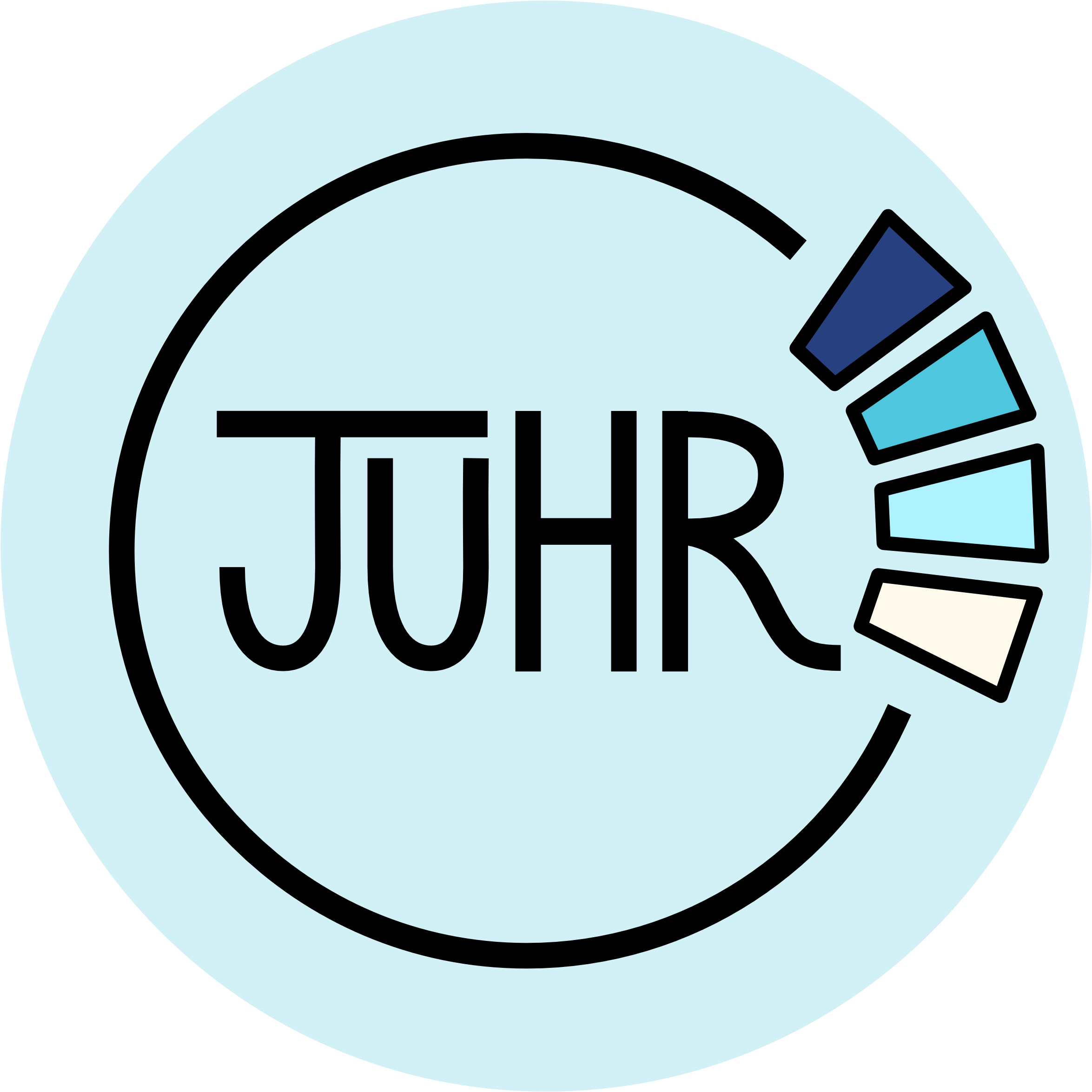 Logo: The letters JUHR in a circle with four bands of colour, in different shades of blue.